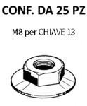 Dadi con rondella mobile, filetto M8 per chiave da 13, zinc. bianca