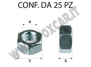 Dadi con filetto M12 x 1,5 per chiave da 19, zincatura bianca