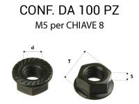 Dadi rondellati M5 con zigrinatura zincatura nera