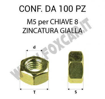 Dadi filetto M5 zincatura gialla