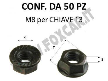 Dadi rondellati filetto M8 zincatura nera