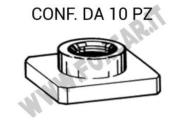 Dado M8 a forma quadra con lato 20 x 20 mm per fissaggio paraurti su Fiat e Lancia   vari modelli