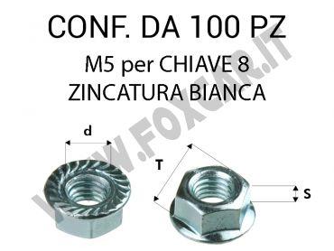 Dado rondellato con zigrinatura, filetto M5 per chiave da 8, zinc. bianca
