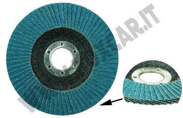 Disco abrasivo lamellare allo zirconio marca RHODIUS, grana 40 e Ø di 115 con supporto   in fibra
