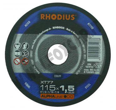 Disco da taglio Rhodius per acciaio, spessore 1,5 mm e diametro 115 mm
