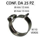 Fascette clic clac in acciaio inox da Ø min 11,5 mm a Ø max 13,5 mm