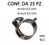 Fascetta clic clac in acciaio inox da Ø min 8,5 mm a Ø max 9,5 mm