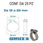 Fascetta stringitubo inox per tubi da 12 a 22 mm