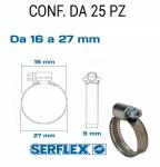 Fascetta stringitubo inox per tubi da 16 a 27 mm