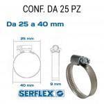 Fascetta stringitubo inox per tubi da 25 a 40 mm
