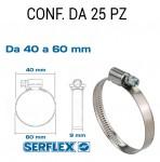 Fascetta stringitubo inox per tubi da 40 a 60 mm