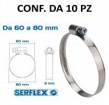 Fascetta stringitubo inox per tubi da 60 a 80 mm