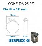 Fascetta stringitubo inox per tubi da 8 a 12 mm