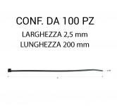 Fascetta in plastica per fissaggio cavi e cablaggi misura 2,5 x 200 mm