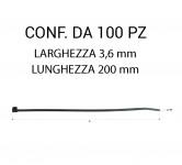 Fascetta in plastica per fissaggio cavi e cablaggi misura 3,6 x 200 mm