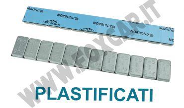 Barretta adesiva contrappesi plastificati 5/5 Gr in ferro zincato da 100 barrette