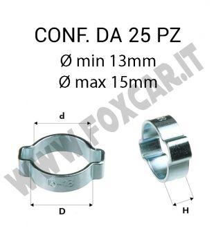 Fascetta stringitubo in acciaio da Ø min 13 mm a Ø max 15 mm