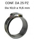Fascette pinzabili a orecchio con anello stringitubo in acciaio da 10,...