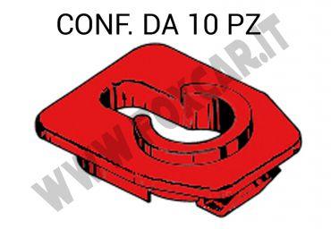 Boccola di centraggio ferma asta cofano in plastica di colore rosso