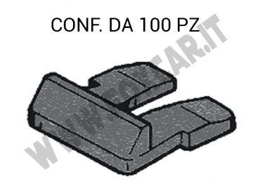 Linguetta in plastica per il fissaggio centrale della targa di colore nero