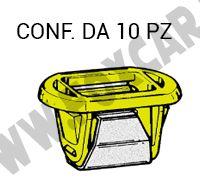 Molletta di fissaggio in plastica di colore giallo e acciaio per fari su Fiat vari   modelli