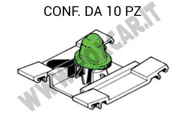 Graffa per modanature laterali su VW Golf e Fiat Multipla. Modello basso con boccola   verde