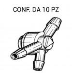 Giunto tergi 3 vie con valvola di ritegno per tubo da 4 mm per Lancia