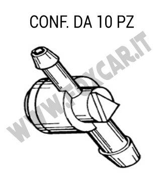 Giunto tergi con valvola di ritegno per tubo Ø 4 mm - 2,5 mm