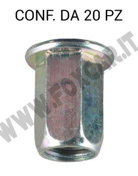 Inserto filettato M10 testa cilindrica e gambo esagonale