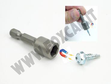 Chiave a bussola con magnete da 8 mm attacco da 1/4 per viti esagonali