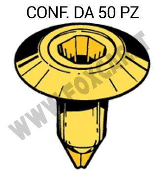 Boccola di plastica con foro quadro per il bottone fermapannello porta su Fiat e   Lancia