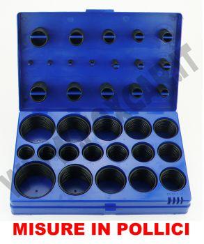 """Kit di 419 o-ring in gomma resistenti agli acidi con diametri interni in POLLICI   da 1/8"""" a 2"""""""