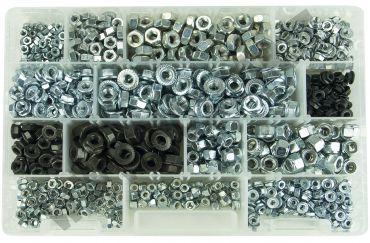 Kit assortimento di 1100 dadi misti con misure M5, M6, M8 normali, rondellati e   autobloccanti