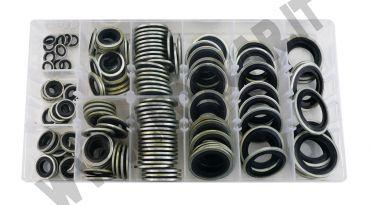 Kit 150 guarnizioni rondelle in metallo con gomma per tappi olio