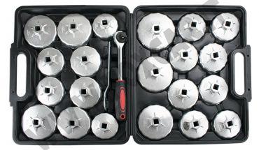 Kit di 21 chiavi a tazza per filtri olio in alluminio