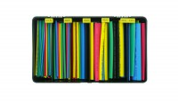 Cassetta di 160 guaine termorestringenti colorate da 10 cm di vari dia...