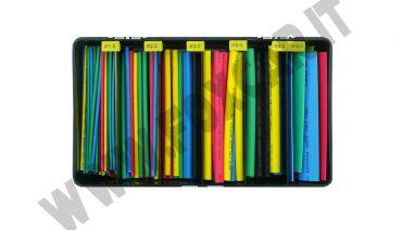 Cassetta di 160 guaine termorestringenti colorate da 10 cm di vari diametri