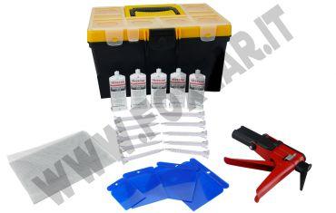 Kit riparazione plastica paraurti e carrozzeria con colla poliuretanica