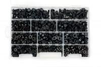 Cassetta con 500 dadi zincati neri e 225 viti M5, M6 e M8 con falsa ro...