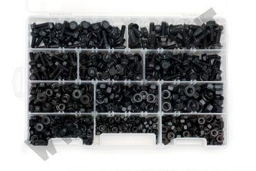 Cassetta con 500 dadi zincati neri e 225 viti M5, M6 e M8 con falsa rondella
