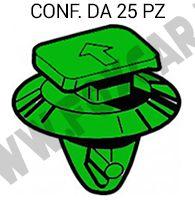 Bottone in plastica di colore verde per fermapannelli e fissaggio interni su Fiat   Grande Punto