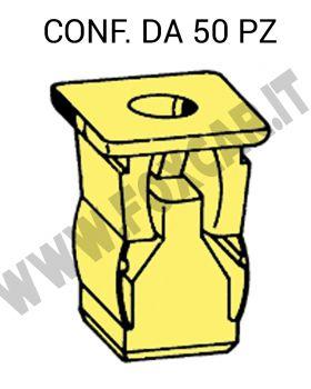 Madrevite di fissaggio in plastica di colore giallo per foro con lato 11 mm e vite   5,5 mm