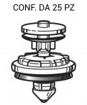 Bottone in plastica fermapannello porta per VW, Audi, Skoda vari model...