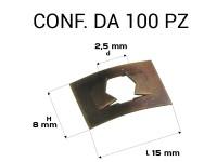 Piastrine rettangolari per perni da 2,5 mm