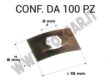 Piastrine rettangolari per perni da 3 mm