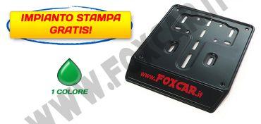 Porta targa per scooter in acciaio nero con serigrafia ad 1 colore con banda serigrafabile   da 30 mm
