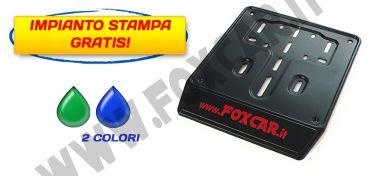 Porta targa per scooter in acciaio nero con serigrafia a 2 colori con banda serigrafabile   da 30 mm