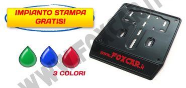 Porta targa per scooter in acciaio nero con serigrafia a 3 colori con banda serigrafabile   da 30 mm