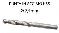 Punta trapano per ferro da 7,5 mm