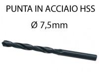 Punta elicoidale in acciaio da 7,5 mm